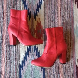 James Smith Red Leather Brooklyn Boot Heeled 41